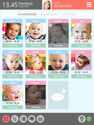 MyWoollie kinderopvang software op de tablet